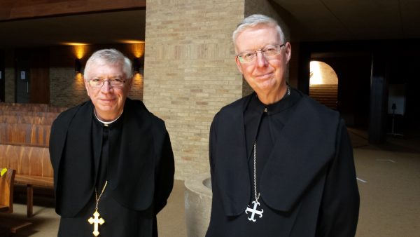 Abbot Geoffrey Scott, Abbot of Douai and First Assistant to the Abbot President of the English Benedictine Congregation, who conducted the election with Abbot Mark Barrett.